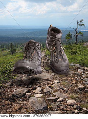 Hiking Boots Walking Onstony Wilderness Path Background, Outdoor Trekking Activity Concept
