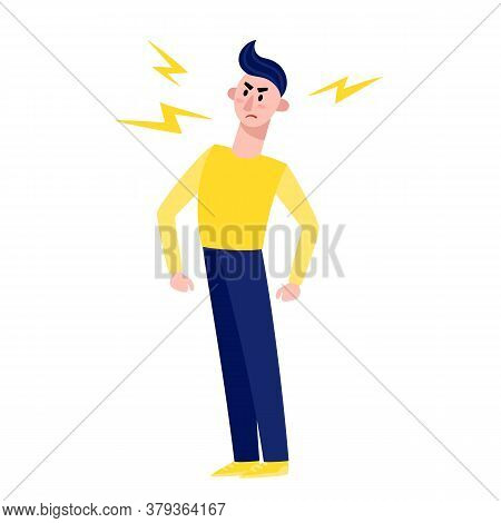 Angry Manin Cartoon Flat Style Standing Isolated On White.