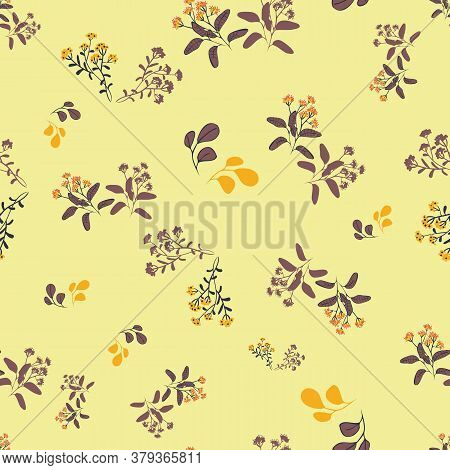 Wildflowers Meadow Seamless Vector Pattern In Yellow And Purple. Decorative Girly Summertime Surface