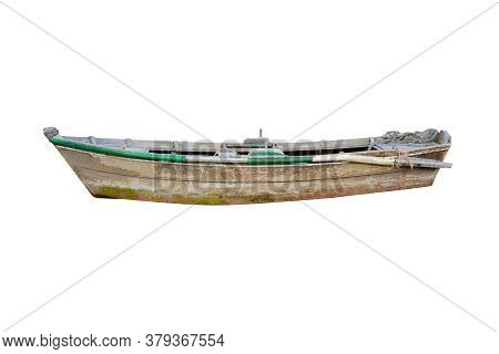 Old Wooden Fishing Boat Isolated On White Background