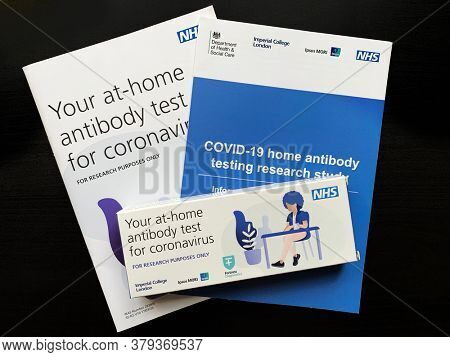 Southampton, UK - 3rd August 2020: The UK Government, NHS and Imperial College London are sending Covid-19 antibody tests to selected UK adults to participate in random testing of the population.