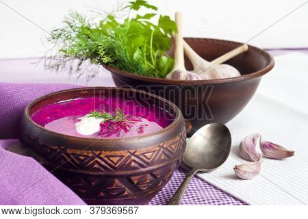 Holodnik - Traditional Lithuanian (russian, Ukrainian, Belorussian, Polish) Cold Beetroot Soup With