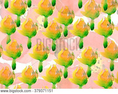 Summer Blossom Background. Botanical Floral Illustration. Exotic Swimwear Design. Hawaii Aquarelle P
