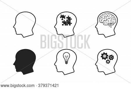 Human Head Icon Set. Mind Process, Creative Think, Intelligence, Brainstorming, Mental Work, And Bus