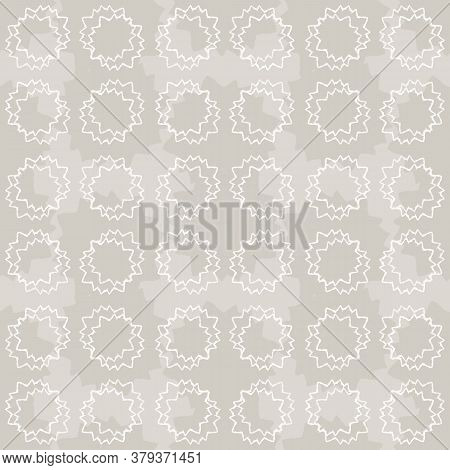 Seamless Pattern. Neutral Cream Polka Dot Circle Background. Elegant Minimal Off White Beige Linen T