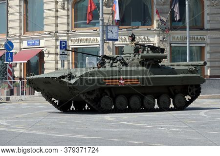 Moscow, Russia - June 20, 2020:upgraded Infantry Fighting Vehicle Bmp-2m On Tverskaya Street During