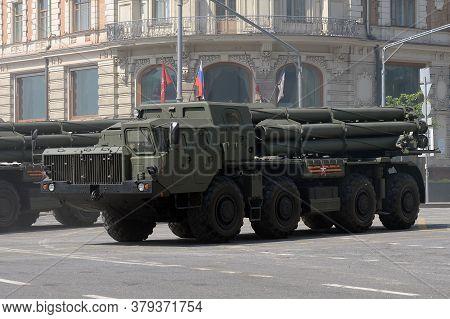 Moscow, Russia - June 20, 2020:tornado-s Multiple Launch Rocket Systems On Tverskaya Street During T