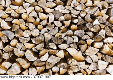 Tree Cut Cross Section Texture. Wood Industry Background. Chopped Wood Texture. Stacked Tree Logs Pa