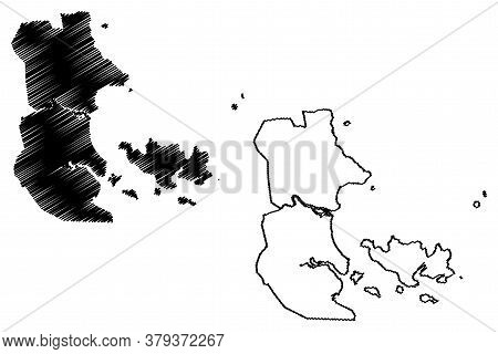 Nha Trang City (socialist Republic Of Vietnam, Khanh Hoa Province) Map Vector Illustration, Scribble