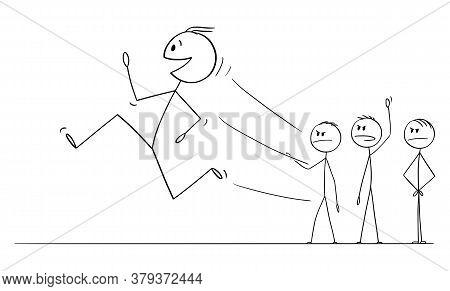 Cartoon Stick Figure Drawing Conceptual Illustration Of Smiling Worker, Man Or Businessman Running A
