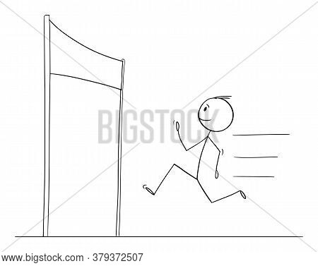Cartoon Stick Figure Drawing Conceptual Illustration Of Man Or Businessman Running To Finish The Rac