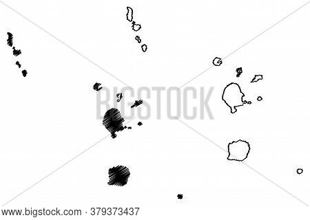 Torba Province (republic Of Vanuatu, Archipelago) Map Vector Illustration, Scribble Sketch Banks And