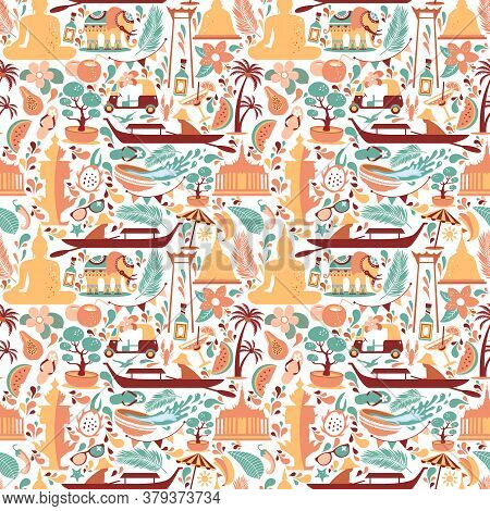Asia Culture Set Of Bruight Icons In Seamless Pattern - Bangkok Thailand Vector Illustration On Whit