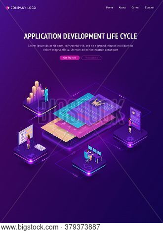 Application Development Life Cycle Banner. Process Stages Of Project Management. Vector Infographic