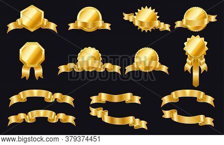 Golden Ribbons Labels And Shields. Set Of Ribbons And Labels. Wrapping Gold Banner Ribbons. Gold Sti