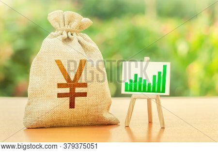 Yen Yuan Money Bag And Easel With Green Positive Growth Graph. Recovery And Growth Of Economy, Good
