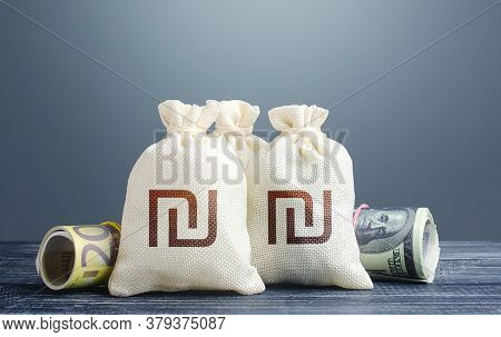 Israeli Shekel Money Bags And Cash. National Gold And Foreign Exchange Reserve. Capital Investments.