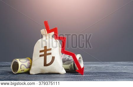 Turkish Lira Money Bag And Red Down Arrow. Economic Difficulties Fall. Stagnation, Recession, Declin