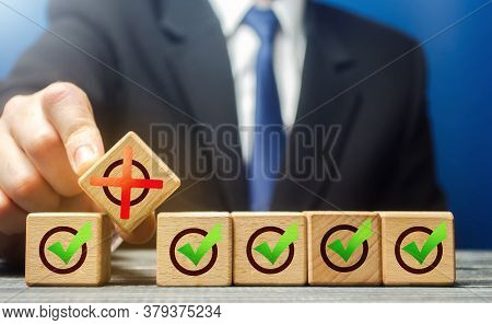 Man Breaks A Row Of Check Boxes Ticks With A Red X. Intentional Violation Of The Terms Of The Contra
