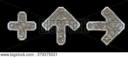 Set of symbols plus, up arrow and right arrow made of industrial metal on black background 3d rendering