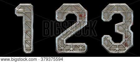 Set of numbers 1, 2, 3 made of industrial metal on black background 3d rendering