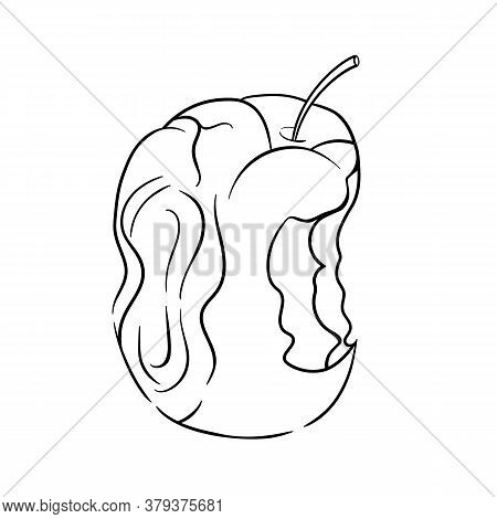 Vector Illustration Of A Picture Of Apple Bite Lines. Organic Trash