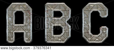 Set of capital letters A, B, C made of industrial metal isolated on black background. 3d rendering