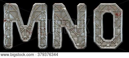 Set of capital letters M, N, O made of industrial metal isolated on black background. 3d rendering