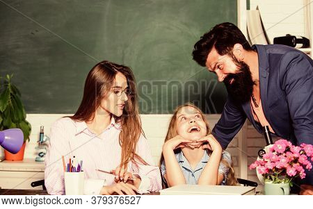 A Foundation For The Future. Prepare Child For Future. Happy Family Back To School. Education And De
