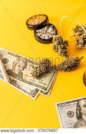 Money Weed. Indica Medical Health. Marijuana Bud And Banknotes Of Dollars. Cannabis Money Black Mark