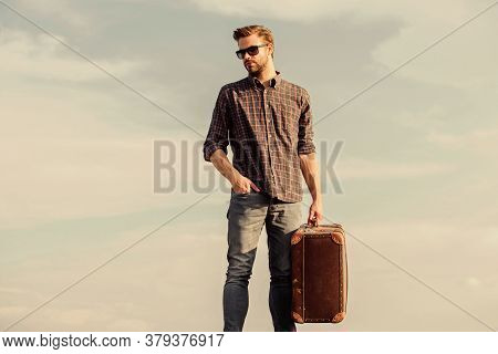 Vacation Time. Guy Outdoors With Vintage Suitcase. Luggage Concept. Travel Agency. Travel Blogger. M