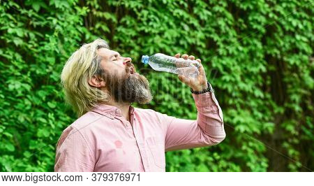 Thirsty Guy Drinking Bottled Water. Healthy Lifestyle. Hot Day. Refreshing Lemonade. Soda Water. Wat