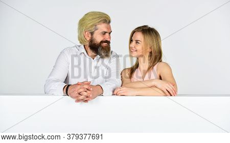 This Is Love. Young Family Portrait. Bearded Man And Woman. Smiling Girl Has Blonde Hair. Brutal Mat