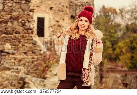 Fur On Hood. Hit Of Season. Stay Warm And Fashionable. Woman Wear Furry Coat. Winter Clothes. Wardro