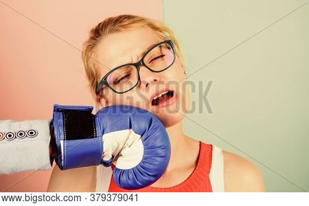 Punch In Face. Destroy Beauty. Cosmetology And Plastic Surgery Services. Strong Punch. Hand In Boxin