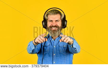 Excellent Music Playlist. Rhythm Concept. Noise Cancellation Function. Music Beat. Man Bearded Hipst