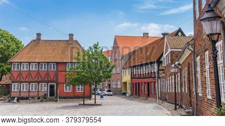 Panorama Of Old Buildings At The Matket Square Of Ribe, Denmark