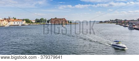 Panorama Of A Motorboat In The Harbor Of Historic City Sonderborg, Denmark