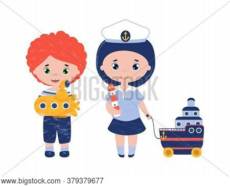 Vector Cute Kids In Marine Clothes. Red Haired Boy With Submarine. Little Girl In Captain Hat And Sa