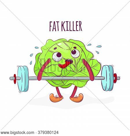 Cabbage Fat Killer Weight Lifter Sport Cartoon Vegetable Health Nutrition Nature Hand Drawn Vector I