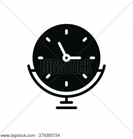 Black Solid Icon For Clock Stand Alarm Time-is-running Reminder Schedule Countdown Hour Quick Time D