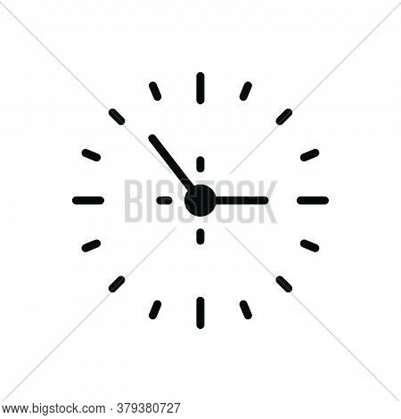 Black Solid Icon For Clock Around-the-clock Time-is-running Reminder Schedule Countdown Hour Quick T