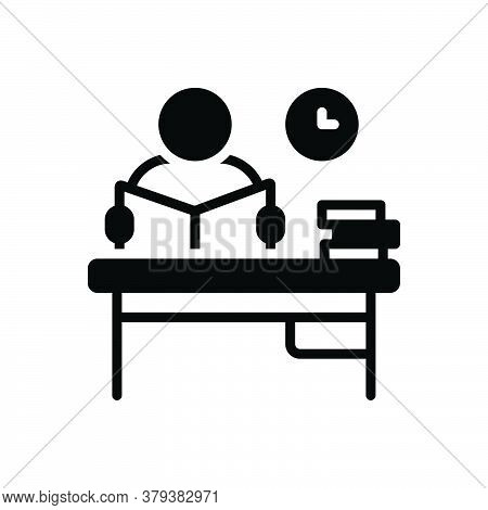 Black Solid Icon For Study Perusal Intone Learn Student  Desk Knowledge