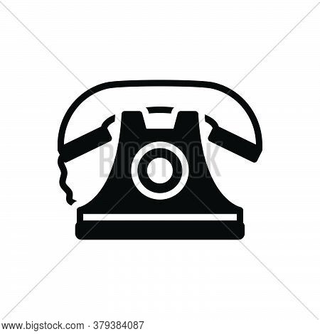 Black Solid Icon For Telephone Communication Phone Ancient Pristine Contact Contactus