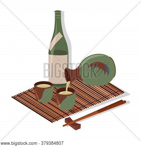 Sake Glass, Bottle, Chopstick, Bamboo Mat. Vector Color Flat Cartoon Illustration Isolated On White