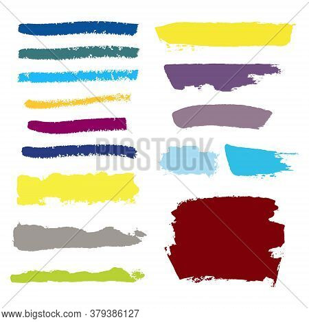 Vector Grunge Watercolor Ink Texture Set Of Hand Painted Pastel Powder Color Dry Brush Splashes, Str
