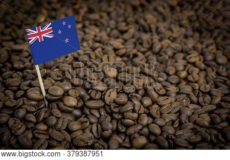 New Zealand Flag Sticking In Roasted Coffee Beans. The Concept Of Export And Import Of Coffee