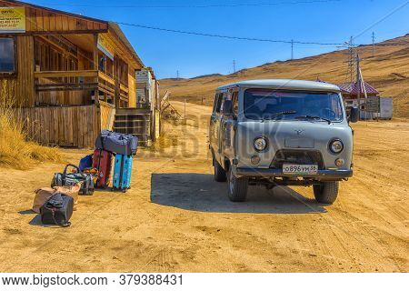 Irkutsk, Russia - 05,05 2018: Grey Van, A Common Transportation Which Can Run On Sand, Ice And Rough