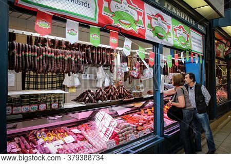 Budapest, Hungary - June 28th 2013: A Delicatessen Selling Meat Products In The Central Market In Bu