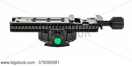 Side View Of Nodal Slide Rail With Rotary Panoramic Tripod Head Isolated On White Background. Panora